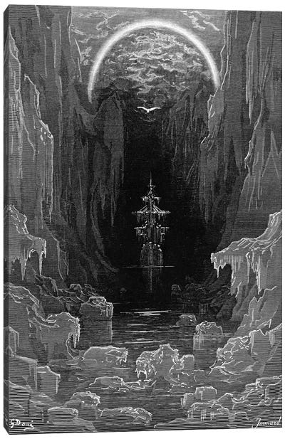 The Ice Was Here, The Ice Was There, The Ice Was All Around (Illustration From Coleridge's The Rime Of The Ancient Mariner) Canvas Art Print