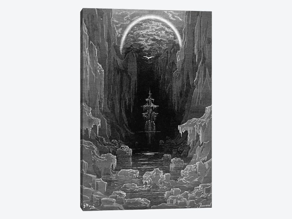 The Ice Was Here, The Ice Was There, The Ice Was All Around (Illustration From Coleridge's The Rime Of The Ancient Mariner) by Gustave Dore 1-piece Canvas Print