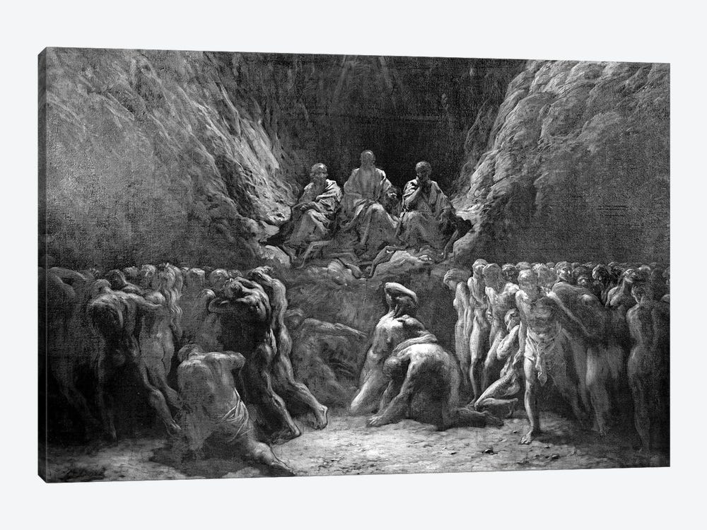 The Last Judgement (The Three Judges Of Hell: Minos, Hades And Rhadamanthus) by Gustave Dore 1-piece Canvas Art