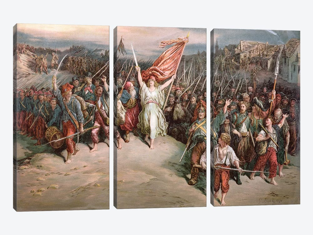 The Marseillaise, 1870 by Gustave Dore 3-piece Canvas Art Print