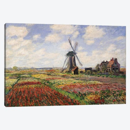 Tulip Fields with the Rijnsburg Windmill, 1886  Canvas Print #BMN682} by Claude Monet Canvas Art