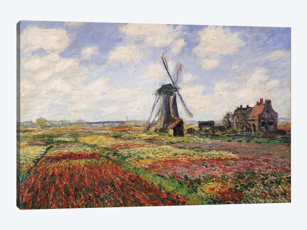 Tulip Fields with the Rijnsburg Windmill, 1886  by Claude Monet 1-piece Canvas Print