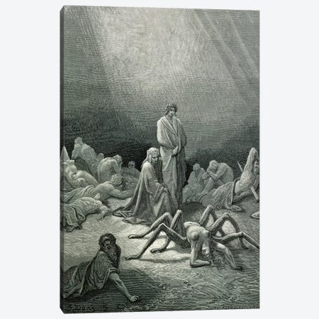 Virgil And Dante Looking At The Spider Woman (Illustration From Dante's Divine Comedy: Inferno) Canvas Print #BMN6831} by Gustave Doré Canvas Art