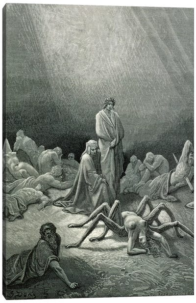 Virgil And Dante Looking At The Spider Woman (Illustration From Dante's Divine Comedy: Inferno) Canvas Art Print