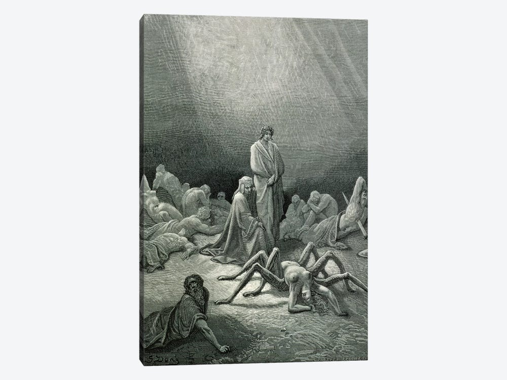 Virgil And Dante Looking At The Spider Woman (Illustration From Dante's Divine Comedy: Inferno) by Gustave Dore 1-piece Canvas Artwork
