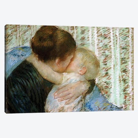 A Goodnight Hug Canvas Print #BMN6832} by Mary Stevenson Cassatt Canvas Art
