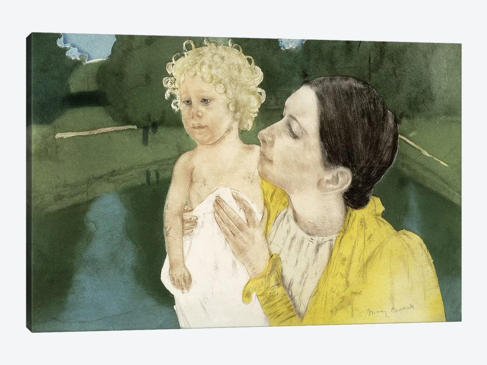 By The Pond, c.1898 by Mary Stevenson Cassatt 1-piece Canvas Wall Art