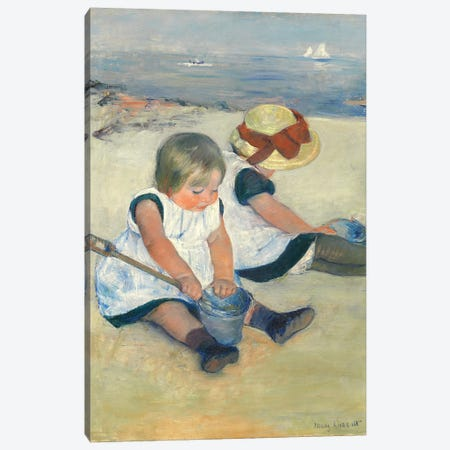 Children Playing On The Beach, 1884 Canvas Print #BMN6834} by Mary Stevenson Cassatt Canvas Print