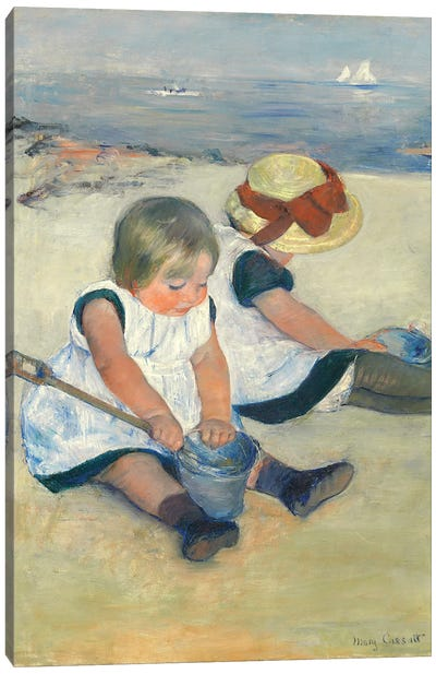 Children Playing On The Beach, 1884 Canvas Art Print