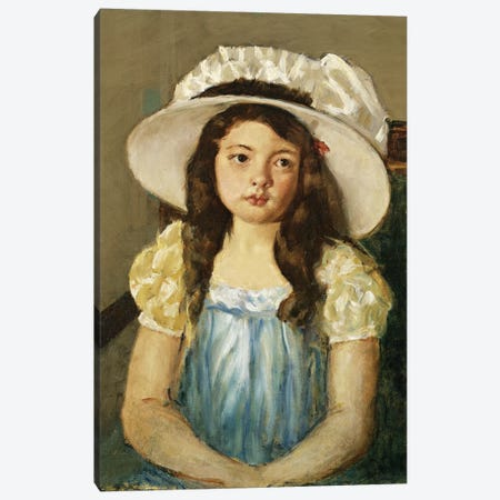 Francoise Wearing A Big White Hat Canvas Print #BMN6835} by Mary Stevenson Cassatt Canvas Print