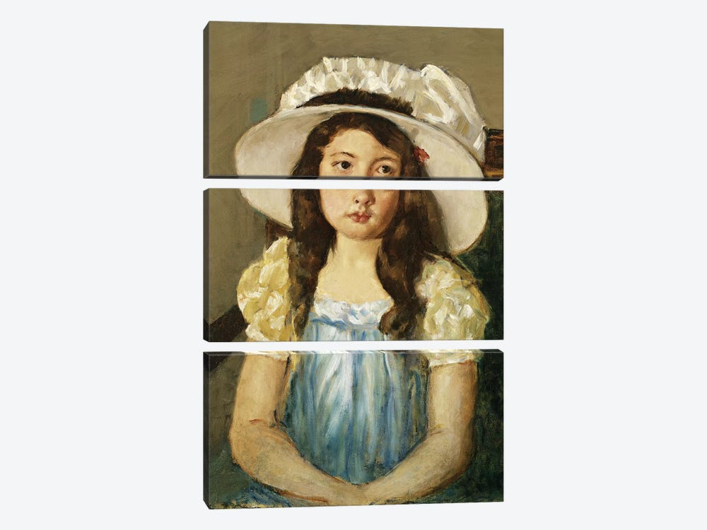 Francoise Wearing A Big White Hat by Mary Stevenson Cassatt 3-piece Canvas Artwork