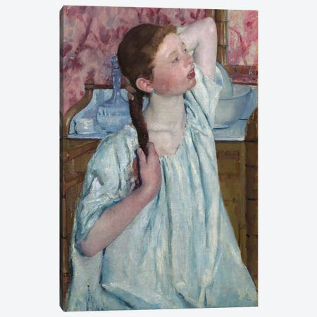 Girl Arranging Her Hair, 1886 Canvas Print #BMN6836} by Mary Stevenson Cassatt Art Print