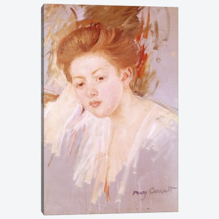 Head Of A Young Girl Canvas Print #BMN6838} by Mary Stevenson Cassatt Canvas Art