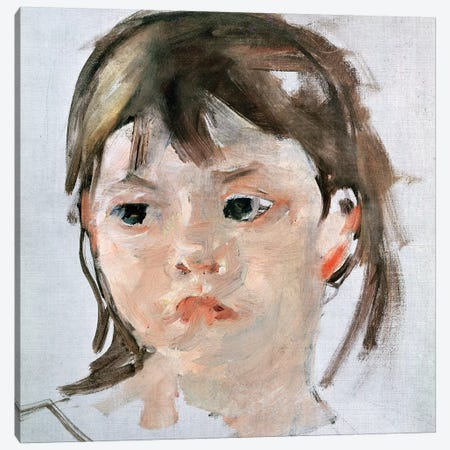 Head Of A Young Girl Canvas Print #BMN6839} by Mary Stevenson Cassatt Canvas Artwork