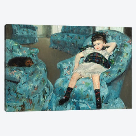 Little Girl In A Blue Armchair, 1878 Canvas Print #BMN6843} by Mary Stevenson Cassatt Canvas Art Print