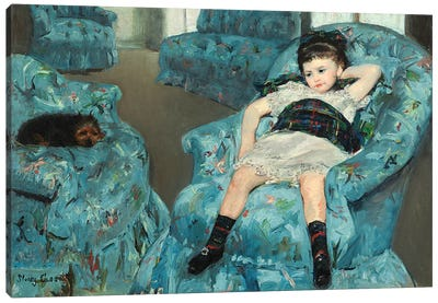Little Girl In A Blue Armchair, 1878 Canvas Art Print
