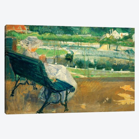Lydia Seated On A Porch, Crocheting, c.1881 Canvas Print #BMN6845} by Mary Stevenson Cassatt Canvas Wall Art