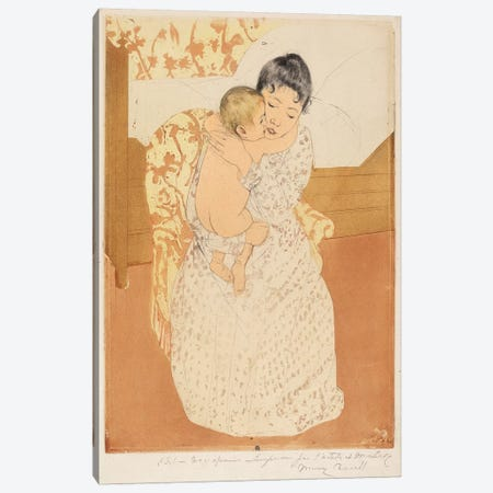 Maternal Caress, 1890-91 Canvas Print #BMN6846} by Mary Stevenson Cassatt Canvas Art