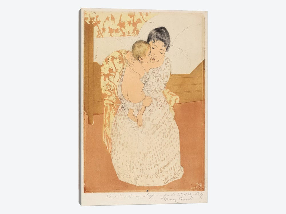 Maternal Caress, 1890-91 by Mary Stevenson Cassatt 1-piece Canvas Art