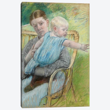 Mathilde Holding A Baby Who Reaches Out To The Right, c.1889 Canvas Print #BMN6847} by Mary Stevenson Cassatt Canvas Art