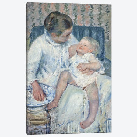 Mother About To Wash Her Sleepy Child, 1880 Canvas Print #BMN6848} by Mary Stevenson Cassatt Canvas Print