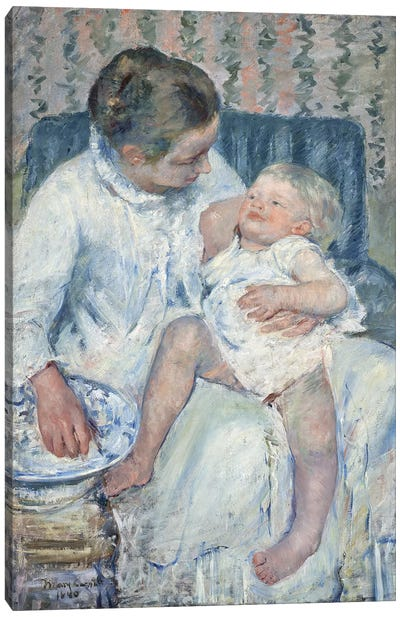 Mother About To Wash Her Sleepy Child, 1880 Canvas Art Print