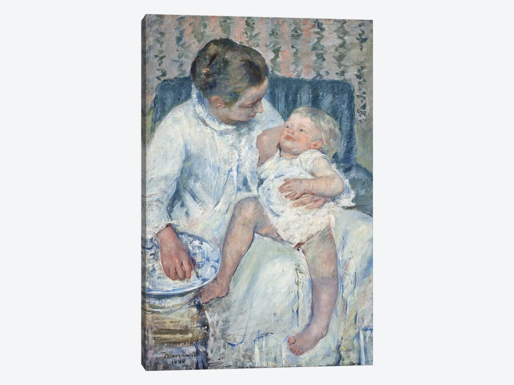 Mother About To Wash Her Sleepy Child, 1880 by Mary Stevenson Cassatt 1-piece Canvas Art