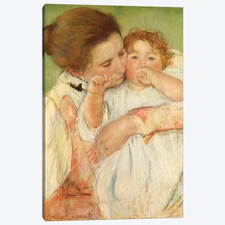 Mother And Child, 1897 Canvas Print #BMN6851} by Mary Stevenson Cassatt Canvas Artwork