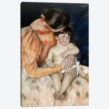 Mother And Child, c.1890-99 Canvas Print #BMN6852} by Mary Stevenson Cassatt Canvas Artwork
