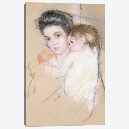 Mother And Nude Child Canvas Print #BMN6853} by Mary Stevenson Cassatt Canvas Art