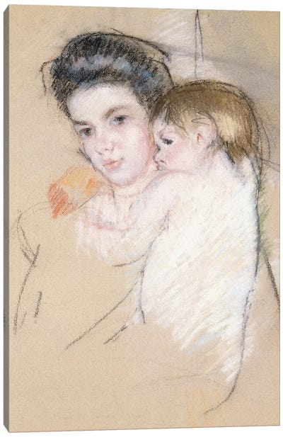 Mother And Nude Child Canvas Art Print