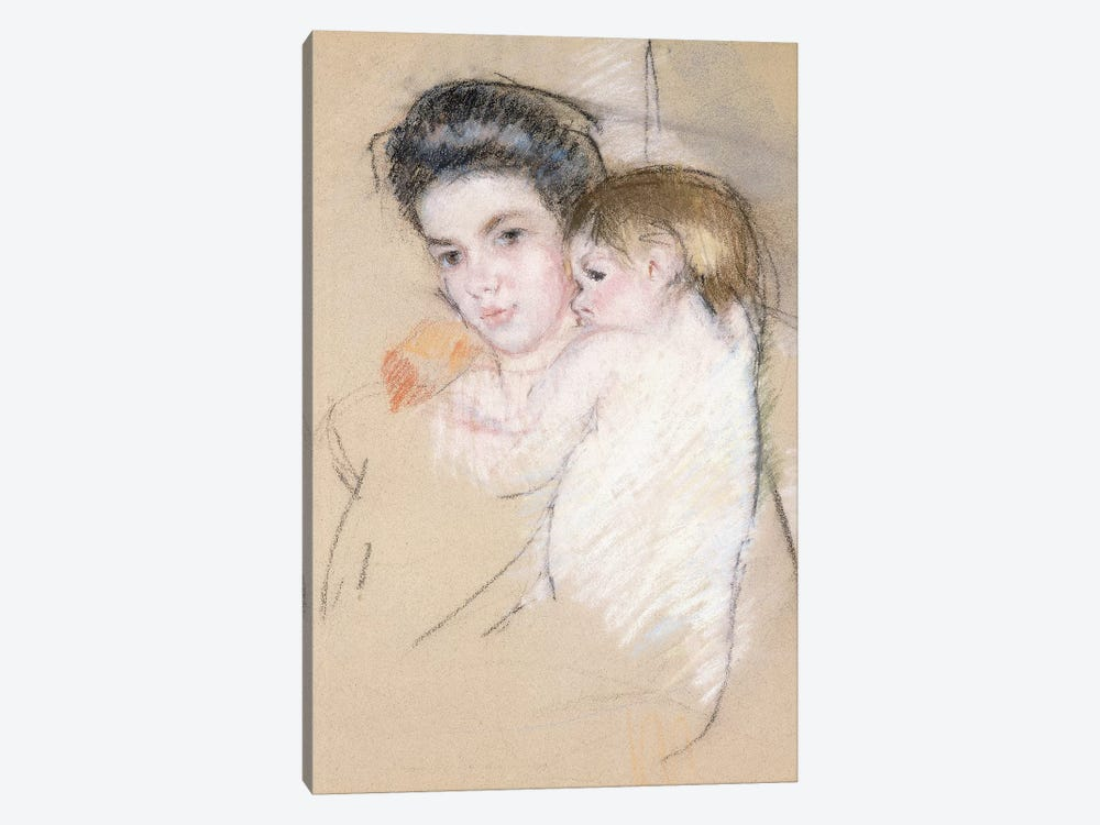 Mother And Nude Child by Mary Stevenson Cassatt 1-piece Canvas Artwork