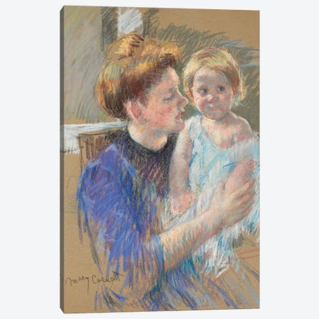 Mother In Purple Holding Her Child, c.1914 Canvas Print #BMN6855} by Mary Stevenson Cassatt Canvas Print