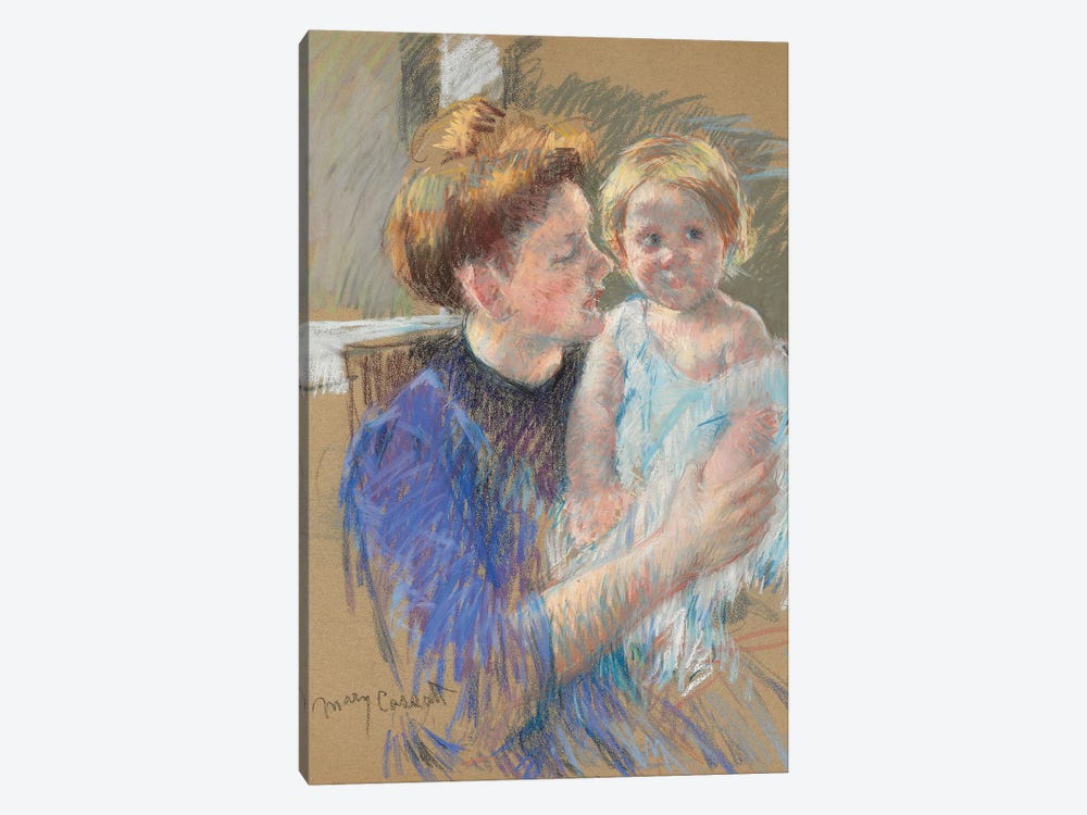 Mother In Purple Holding Her Child, c.1914 by Mary Stevenson Cassatt 1-piece Canvas Artwork
