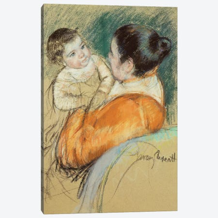 Mother Louise Holding Up Her Blue-Eyed Child Canvas Print #BMN6856} by Mary Stevenson Cassatt Canvas Print