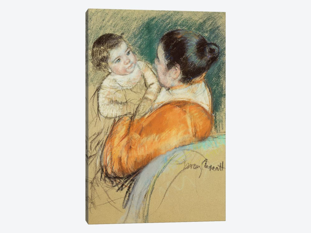 Mother Louise Holding Up Her Blue-Eyed Child by Mary Stevenson Cassatt 1-piece Art Print