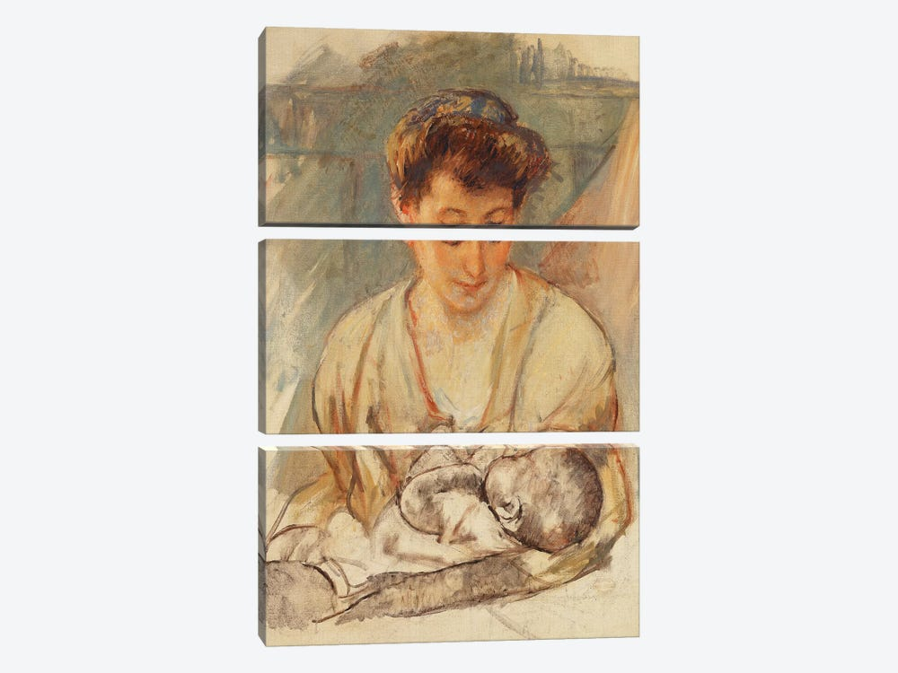 Mother Rose Looking Down At Her Sleeping Baby, c.1900 by Mary Stevenson Cassatt 3-piece Canvas Artwork