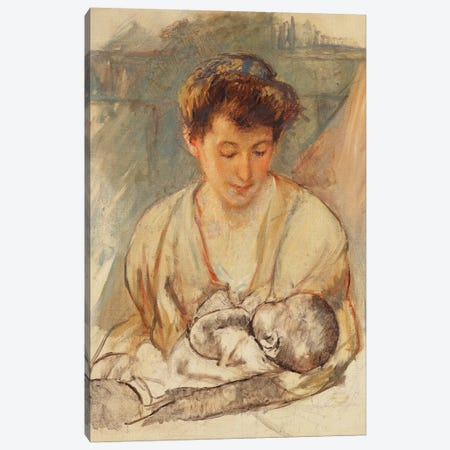 Mother Rose Looking Down At Her Sleeping Baby, c.1900 Canvas Print #BMN6857} by Mary Stevenson Cassatt Canvas Art Print