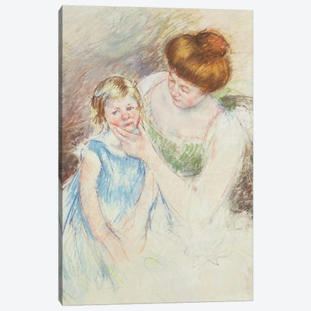 Mother With Left Hand Holding Sara's Chin Canvas Print #BMN6858} by Mary Stevenson Cassatt Canvas Wall Art