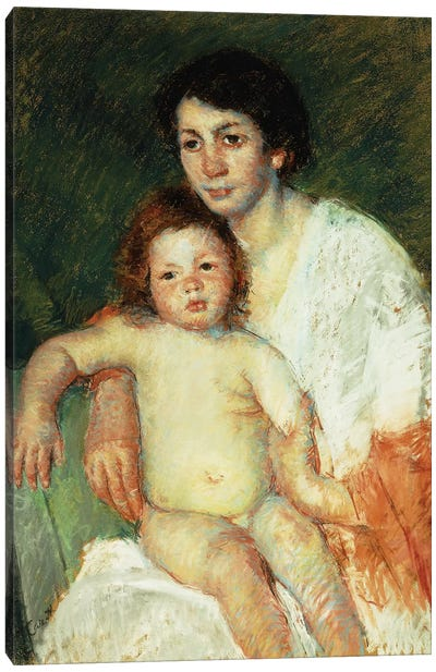 Nude Baby On Mother's Lap Resting Her Right Arm On The Back Of The Chair, 1913 Canvas Art Print