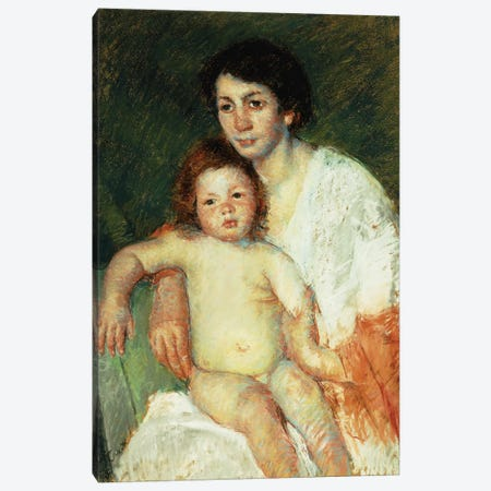 Nude Baby On Mother's Lap Resting Her Right Arm On The Back Of The Chair, 1913 Canvas Print #BMN6861} by Mary Stevenson Cassatt Canvas Art Print