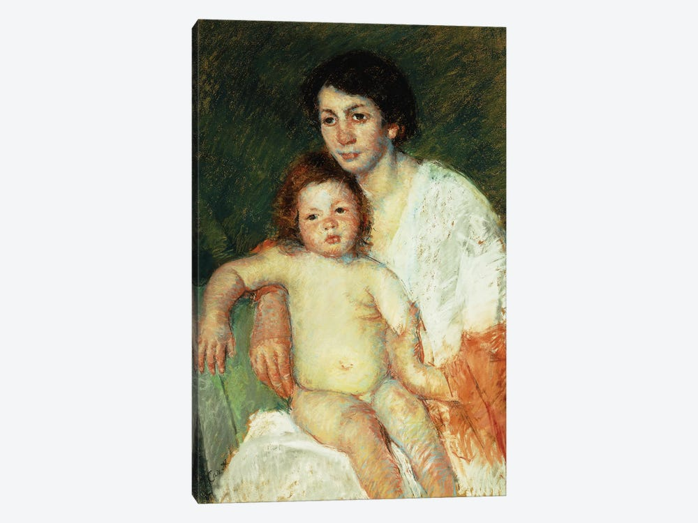 Nude Baby On Mother's Lap Resting Her Right Arm On The Back Of The Chair, 1913 by Mary Stevenson Cassatt 1-piece Canvas Art Print