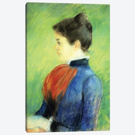 Profile Of A Woman Wearing A Jabot Canvas Print #BMN6865} by Mary Stevenson Cassatt Canvas Artwork