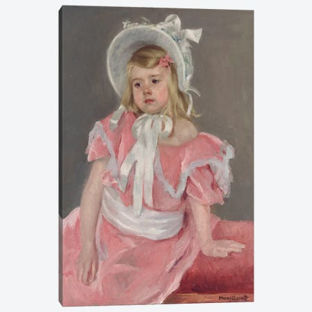 Sara Seated, Leaning On Her Left Hand Canvas Print #BMN6866} by Mary Stevenson Cassatt Canvas Artwork