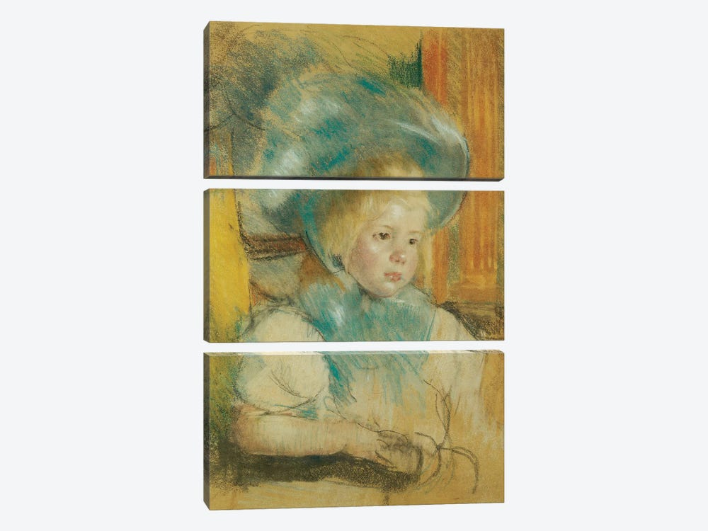 Simone In A Plumed Hat, c.1903 by Mary Stevenson Cassatt 3-piece Canvas Print