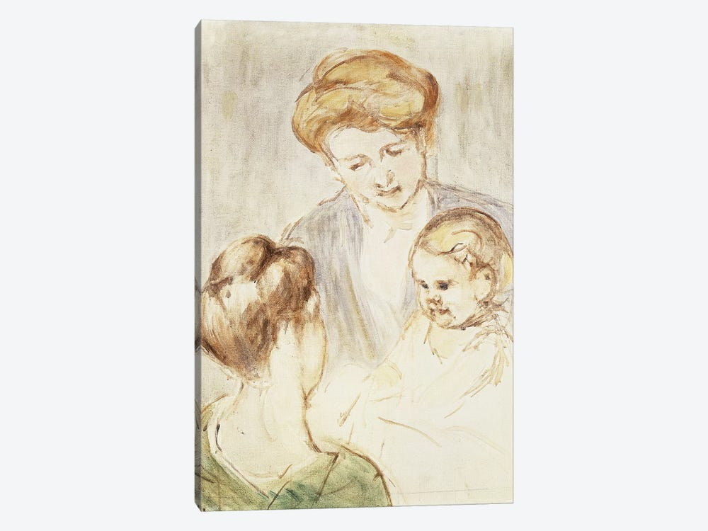 Smiling Baby With Two Girls by Mary Stevenson Cassatt 1-piece Canvas Wall Art