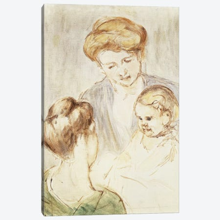 Smiling Baby With Two Girls Canvas Print #BMN6868} by Mary Stevenson Cassatt Canvas Print