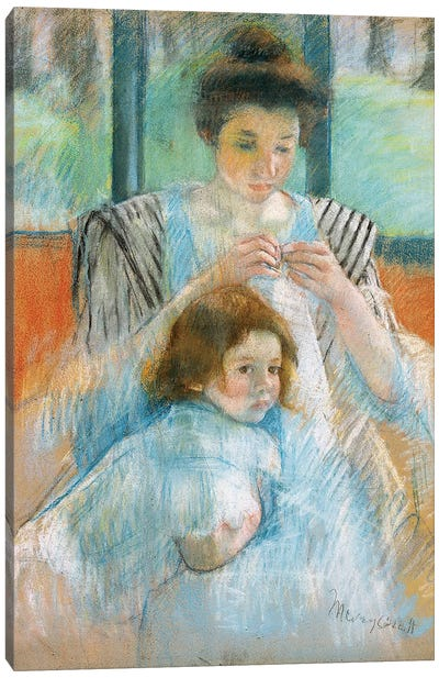 Study For Young Mother Sewing, 1902 Canvas Print #BMN6869