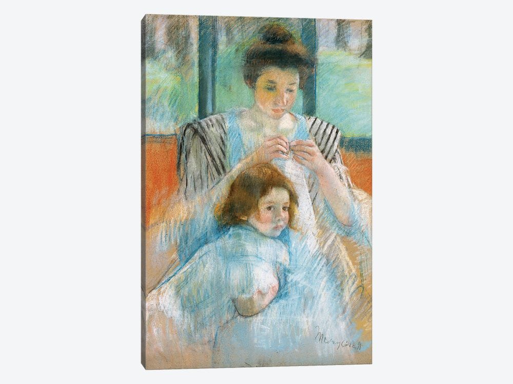Study For Young Mother Sewing, 1902 by Mary Stevenson Cassatt 1-piece Canvas Print