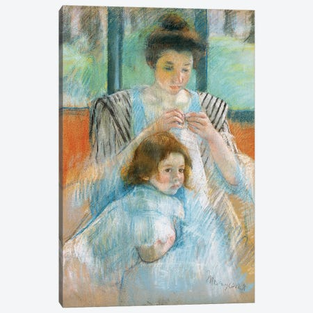 Study For Young Mother Sewing, 1902 Canvas Print #BMN6869} by Mary Stevenson Cassatt Art Print
